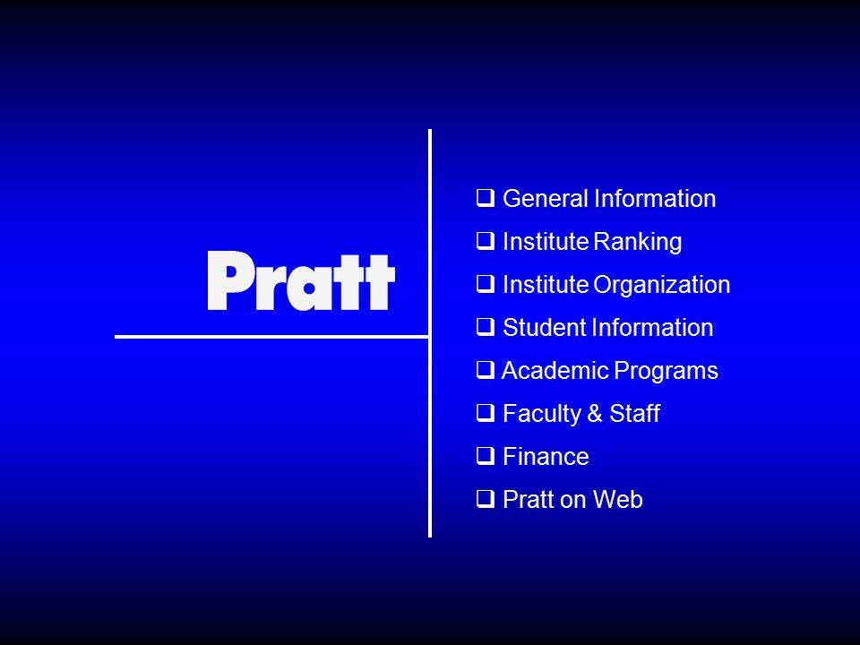  General Information  Institute Ranking  Institute Organization  Student Information  Academic Programs  Faculty & Staff  Finance  Pratt on Web