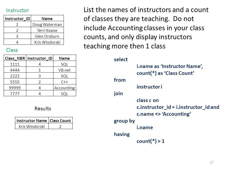 List the names of instructors and a count of classes they are teaching. Do not include Accounting classes in your class counts, and only display instr