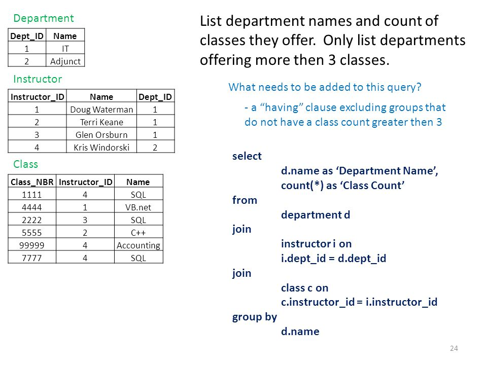 List department names and count of classes they offer. Only list departments offering more then 3 classes. 24 select d.name as 'Department Name', coun