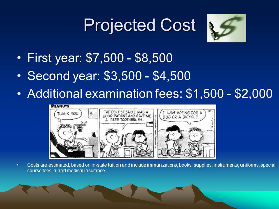 Projected Cost First year: $7,500 - $8,500 Second year: $3,500 - $4,500 Additional examination fees: $1,500 - $2,000 Costs are estimated, based on in-state tuition and include immunizations, books, supplies, instruments, uniforms, special course fees, a and medical insurance