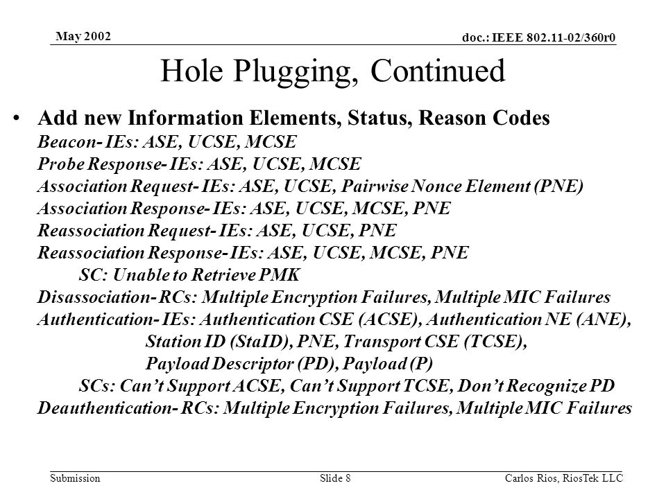 doc.: IEEE 802.11-02/360r0 Submission May 2002 Carlos Rios, RiosTek LLC Slide 8 Hole Plugging, Continued Add new Information Elements, Status, Reason
