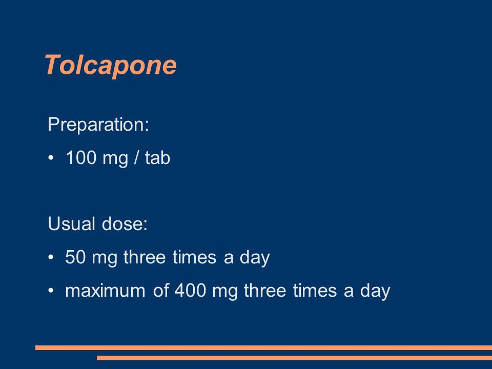 Preparation: 100 mg / tab Usual dose: 50 mg three times a day maximum of 400 mg three times a day