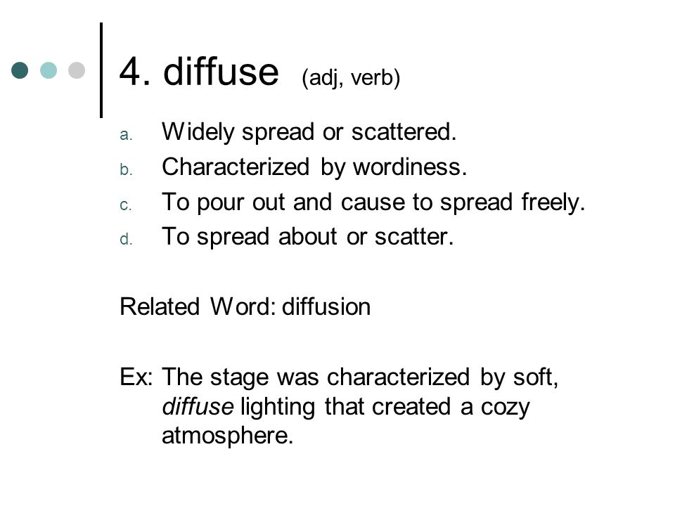 5.diverge (verb) a. To go or extend in different directions from a common point; branch out.