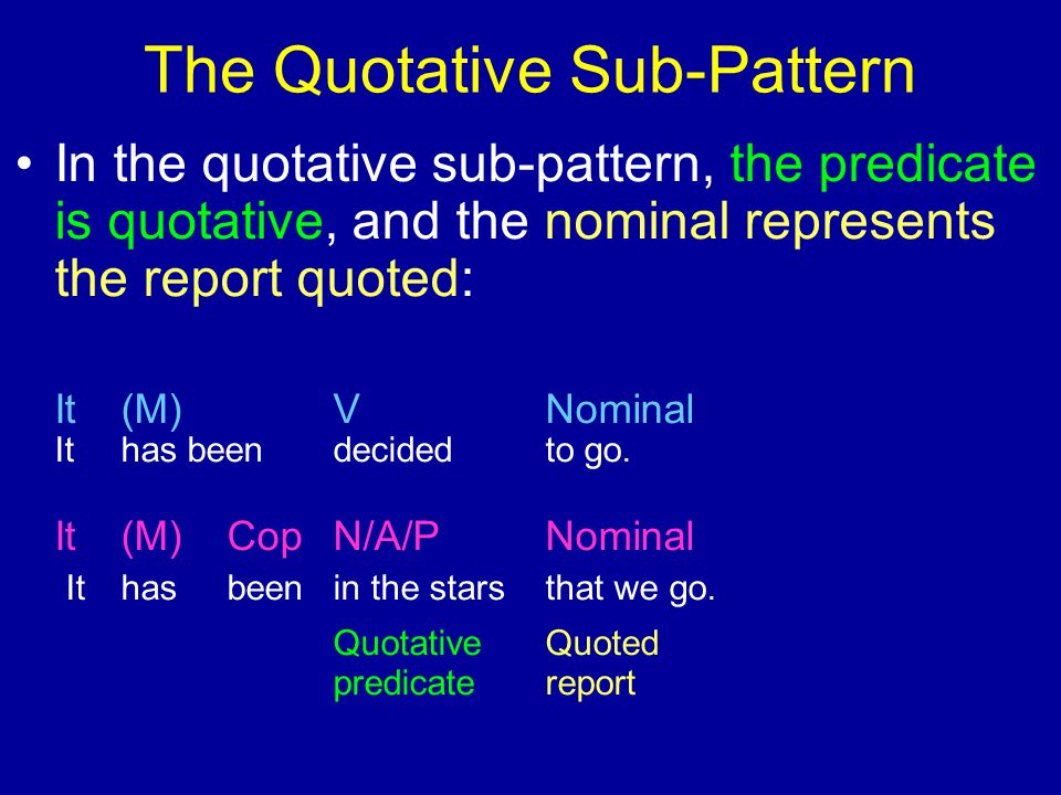 The Quotative Sub-Pattern In the quotative sub-pattern, the predicate is quotative, and the nominal represents the report quoted: It(M)VNominal Ithas