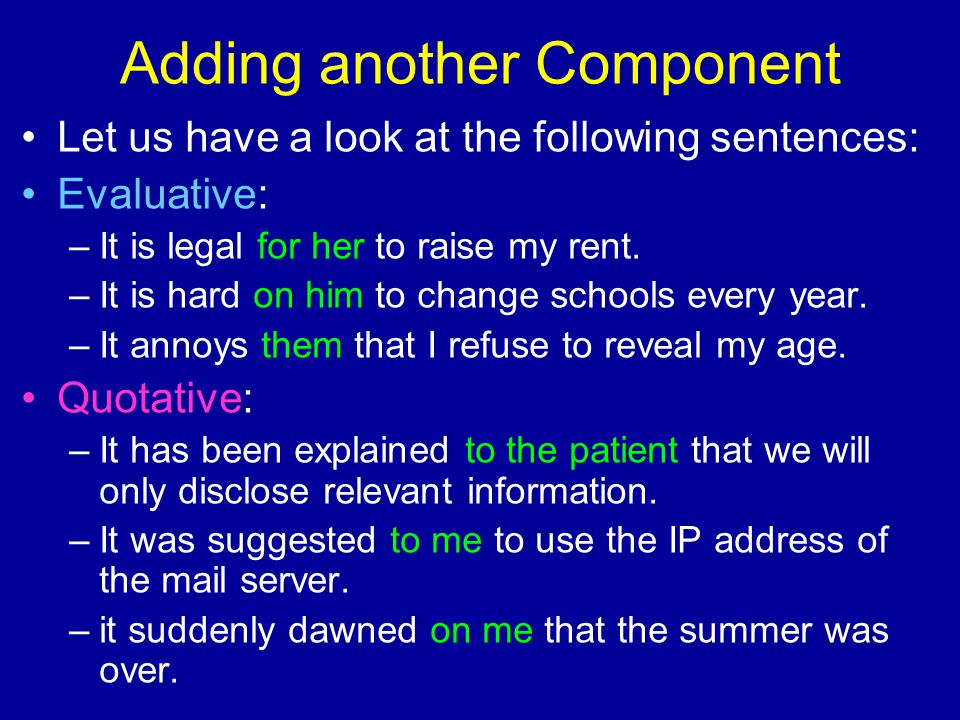 Adding another Component Let us have a look at the following sentences: Evaluative: –It is legal for her to raise my rent.