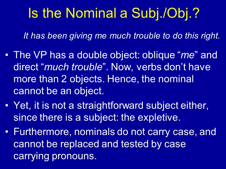 """Is the Nominal a Subj./Obj.? It has been giving me much trouble to do this right. The VP has a double object: oblique """"me"""" and direct """"much trouble""""."""
