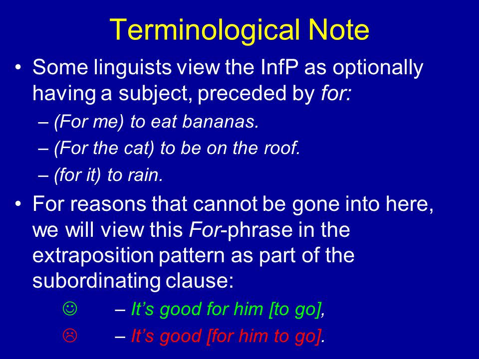 Terminological Note Some linguists view the InfP as optionally having a subject, preceded by for: –(For me) to eat bananas.