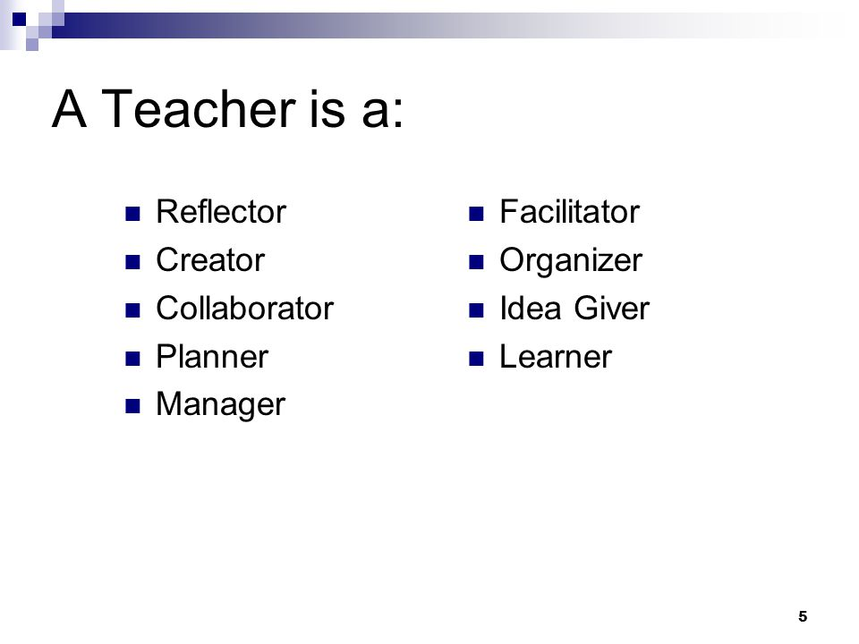 5 A Teacher is a: Reflector Creator Collaborator Planner Manager Facilitator Organizer Idea Giver Learner