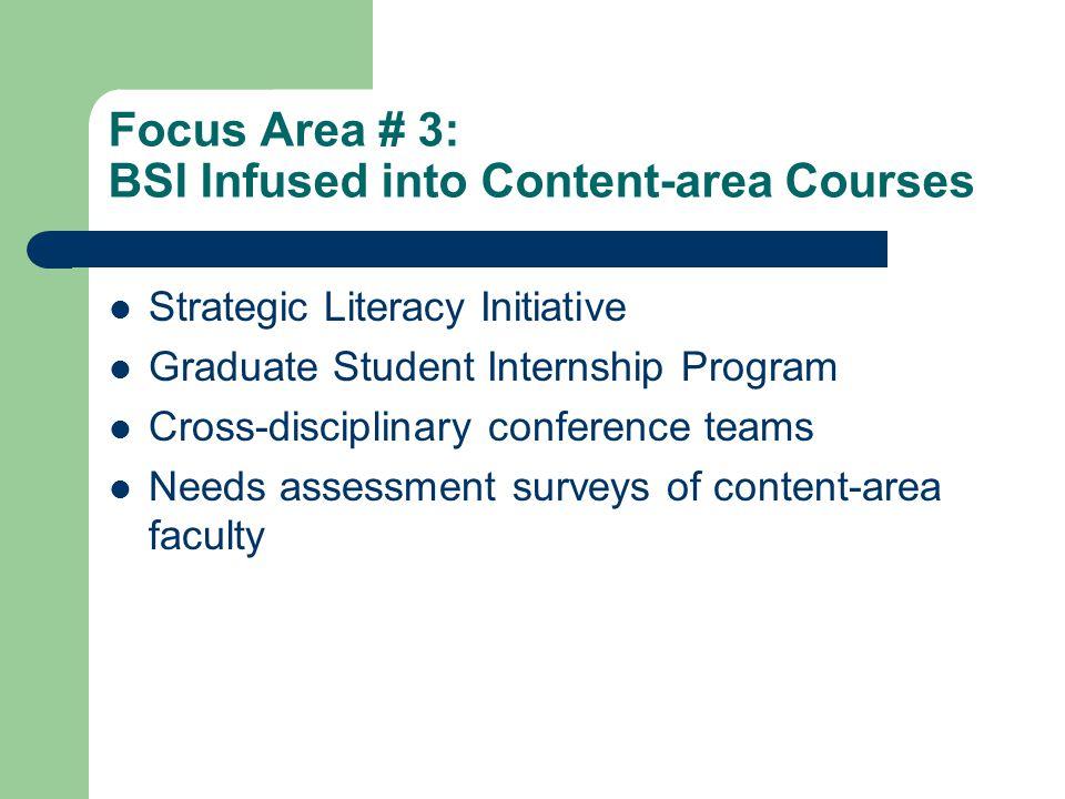 Focus Area # 3: BSI Infused into Content-area Courses Strategic Literacy Initiative Graduate Student Internship Program Cross-disciplinary conference
