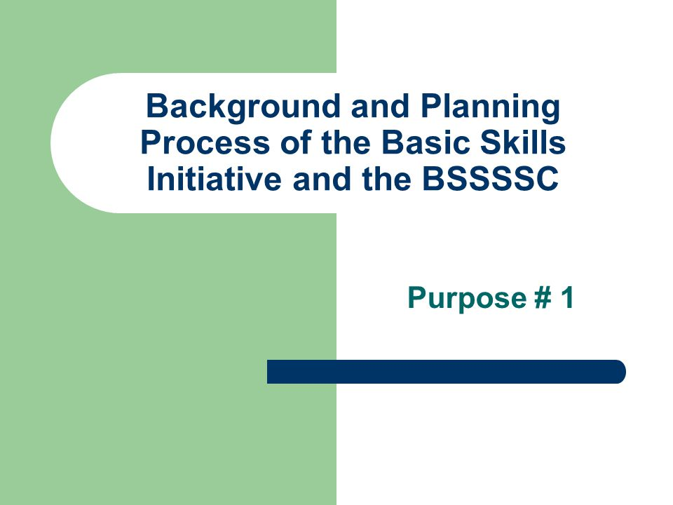 Background and Planning Process of the Basic Skills Initiative and the BSSSSC Purpose # 1