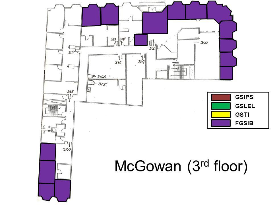 McGowan (3 rd floor) GSIPS GSLEL GSTI FGSIB