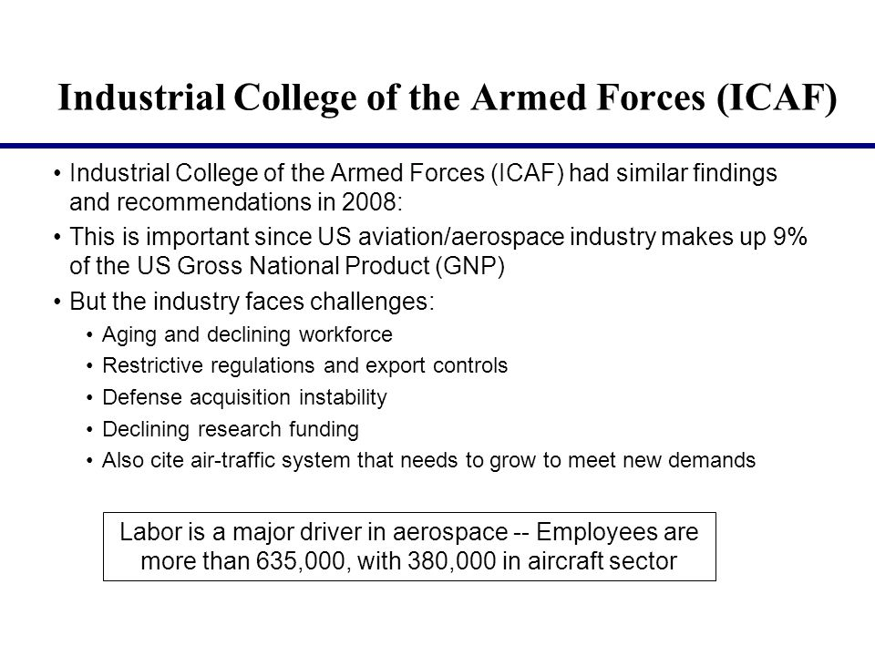 Industrial College of the Armed Forces (ICAF) Industrial College of the Armed Forces (ICAF) had similar findings and recommendations in 2008: This is important since US aviation/aerospace industry makes up 9% of the US Gross National Product (GNP) But the industry faces challenges: Aging and declining workforce Restrictive regulations and export controls Defense acquisition instability Declining research funding Also cite air-traffic system that needs to grow to meet new demands Labor is a major driver in aerospace -- Employees are more than 635,000, with 380,000 in aircraft sector