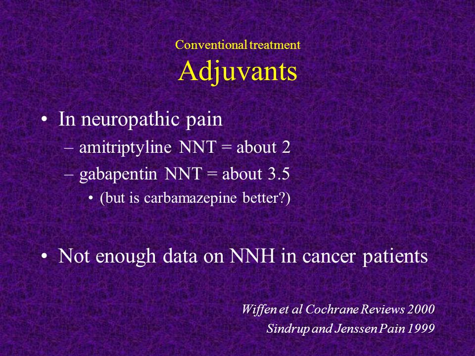 Conventional treatment Adjuvants In neuropathic pain –amitriptyline NNT = about 2 –gabapentin NNT = about 3.5 (but is carbamazepine better ) Not enough data on NNH in cancer patients Wiffen et al Cochrane Reviews 2000 Sindrup and Jenssen Pain 1999