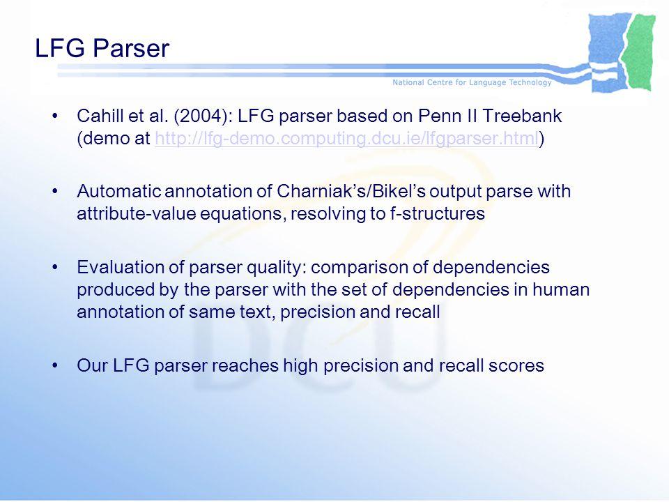 LFG Parser Cahill et al.