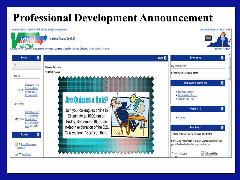 Professional Development Announcement