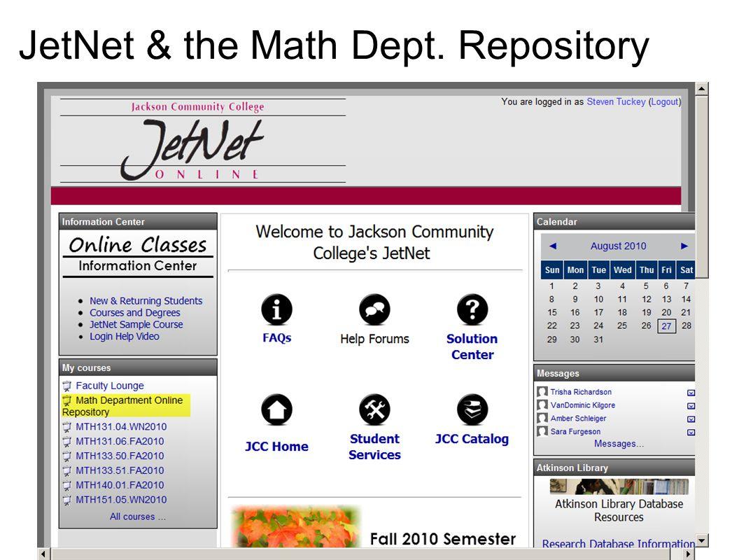 JetNet & the Math Dept. Repository