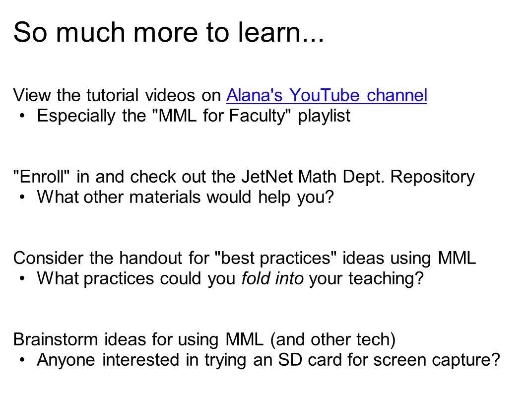 So much more to learn... View the tutorial videos on Alana's YouTube channelAlana's YouTube channel Especially the