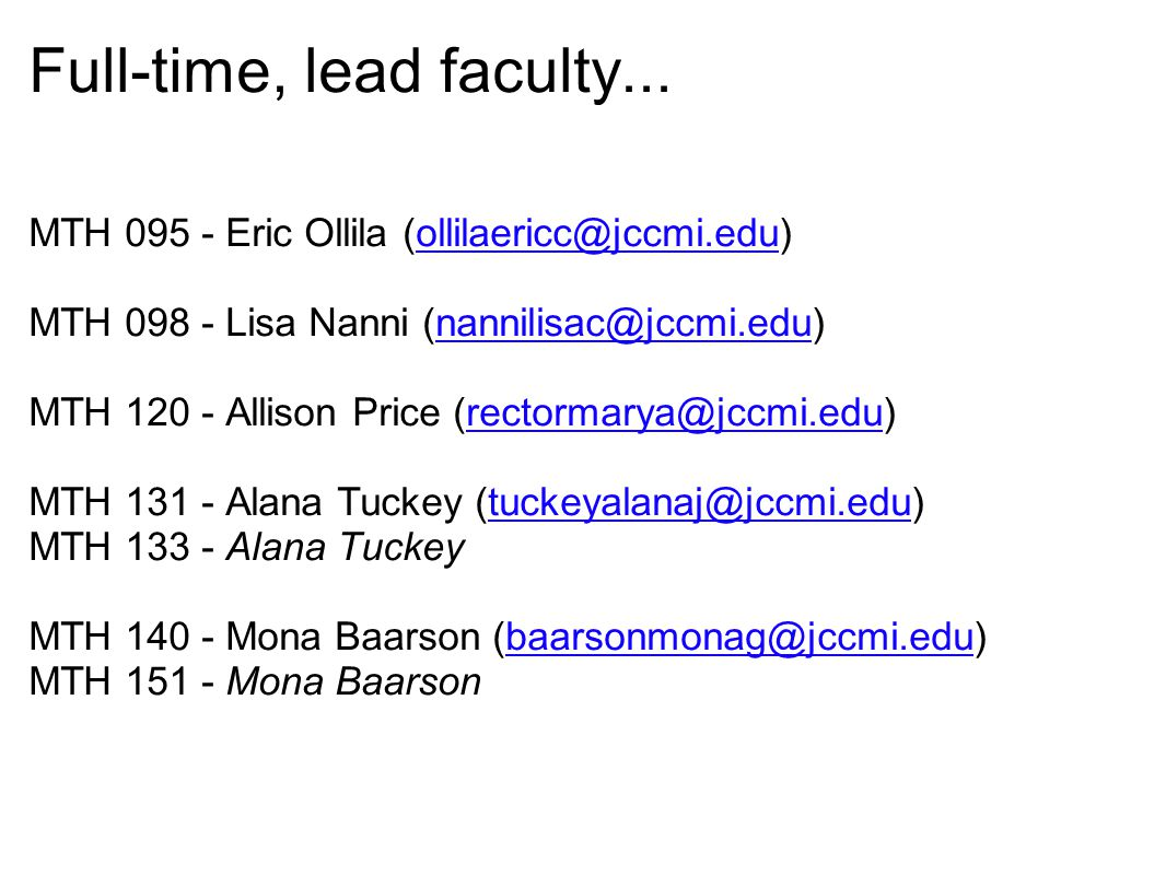 Full-time, lead faculty...