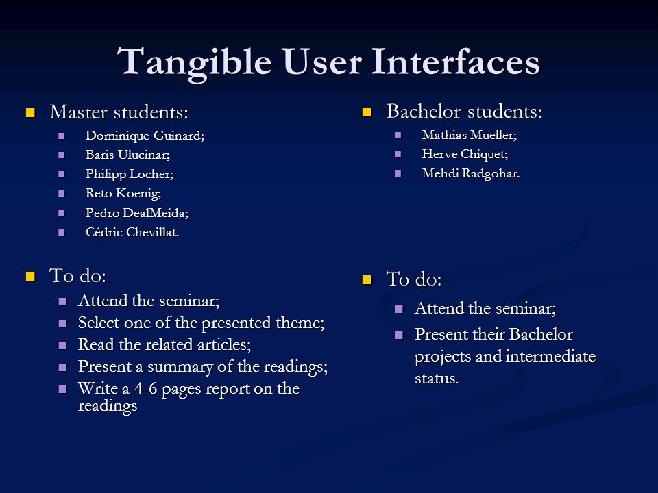 Tangible User Interfaces Master students: Master students: Dominique Guinard; Dominique Guinard; Baris Ulucinar; Baris Ulucinar; Philipp Locher; Philipp Locher; Reto Koenig; Reto Koenig; Pedro DealMeida; Pedro DealMeida; Cédric Chevillat.