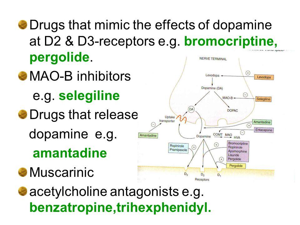 Drugs that mimic the effects of dopamine at D2 & D3-receptors e.g. bromocriptine, pergolide. MAO-B inhibitors e.g. selegiline Drugs that release dopam
