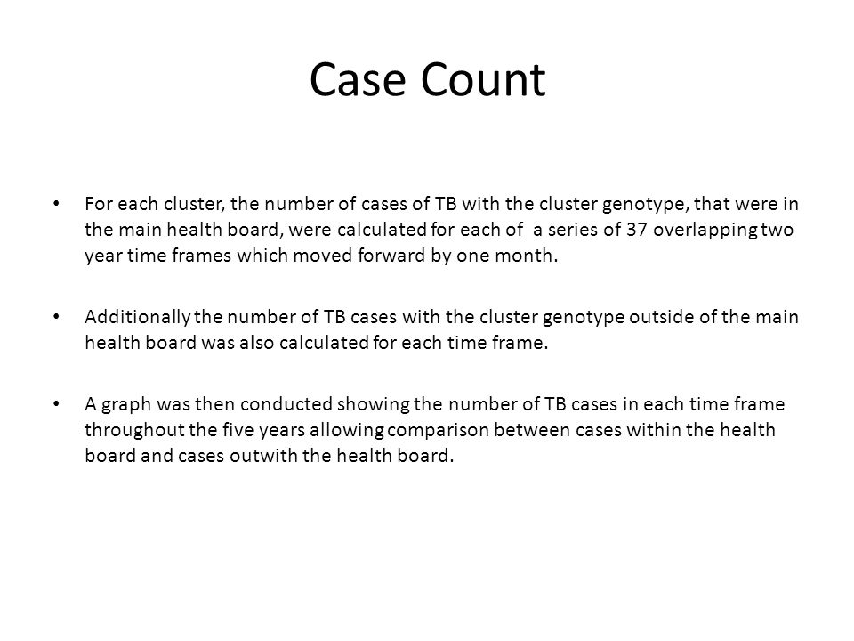 Case Count For each cluster, the number of cases of TB with the cluster genotype, that were in the main health board, were calculated for each of a series of 37 overlapping two year time frames which moved forward by one month.