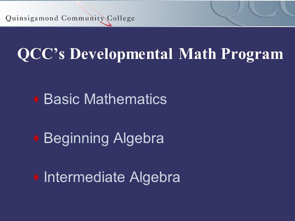 QCC's Developmental Math Program  Basic Mathematics  Beginning Algebra  Intermediate Algebra