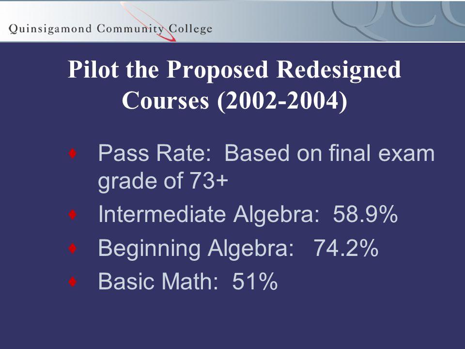 Pilot the Proposed Redesigned Courses (2002-2004)  Pass Rate: Based on final exam grade of 73+  Intermediate Algebra: 58.9%  Beginning Algebra: 74.2%  Basic Math: 51%