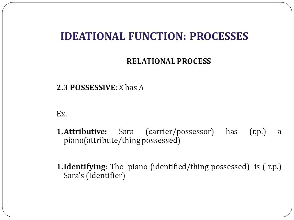 IDEATIONAL FUNCTION: PROCESSES RELATIONAL PROCESS 2.3 POSSESSIVE: X has A Ex. 1.Attributive: Sara (carrier/possessor) has (r.p.) a piano(attribute/thi