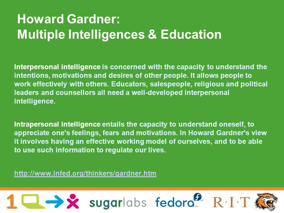 Howard Gardner: Multiple Intelligences & Education Interpersonal intelligence is concerned with the capacity to understand the intentions, motivations