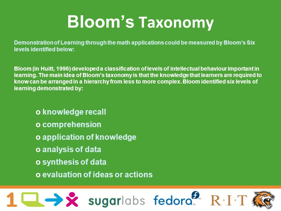 Bloom's Taxonomy Demonstration of Learning through the math applications could be measured by Bloom's Six levels identified below: Bloom (in Huitt, 1996) developed a classification of levels of intellectual behaviour important in learning.