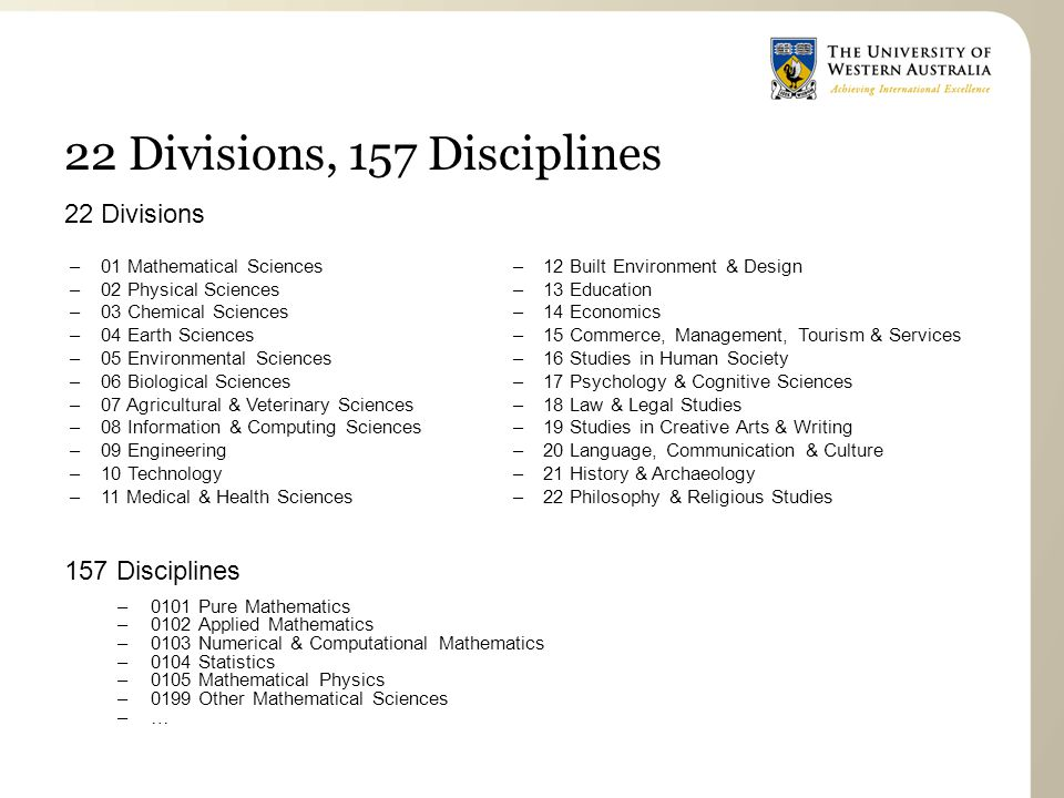 22 Divisions, 157 Disciplines 22 Divisions 157 Disciplines –0101 Pure Mathematics –0102 Applied Mathematics –0103 Numerical & Computational Mathematics –0104 Statistics –0105 Mathematical Physics –0199 Other Mathematical Sciences –… –01 Mathematical Sciences –02 Physical Sciences –03 Chemical Sciences –04 Earth Sciences –05 Environmental Sciences –06 Biological Sciences –07 Agricultural & Veterinary Sciences –08 Information & Computing Sciences –09 Engineering –10 Technology –11 Medical & Health Sciences –12 Built Environment & Design –13 Education –14 Economics –15 Commerce, Management, Tourism & Services –16 Studies in Human Society –17 Psychology & Cognitive Sciences –18 Law & Legal Studies –19 Studies in Creative Arts & Writing –20 Language, Communication & Culture –21 History & Archaeology –22 Philosophy & Religious Studies