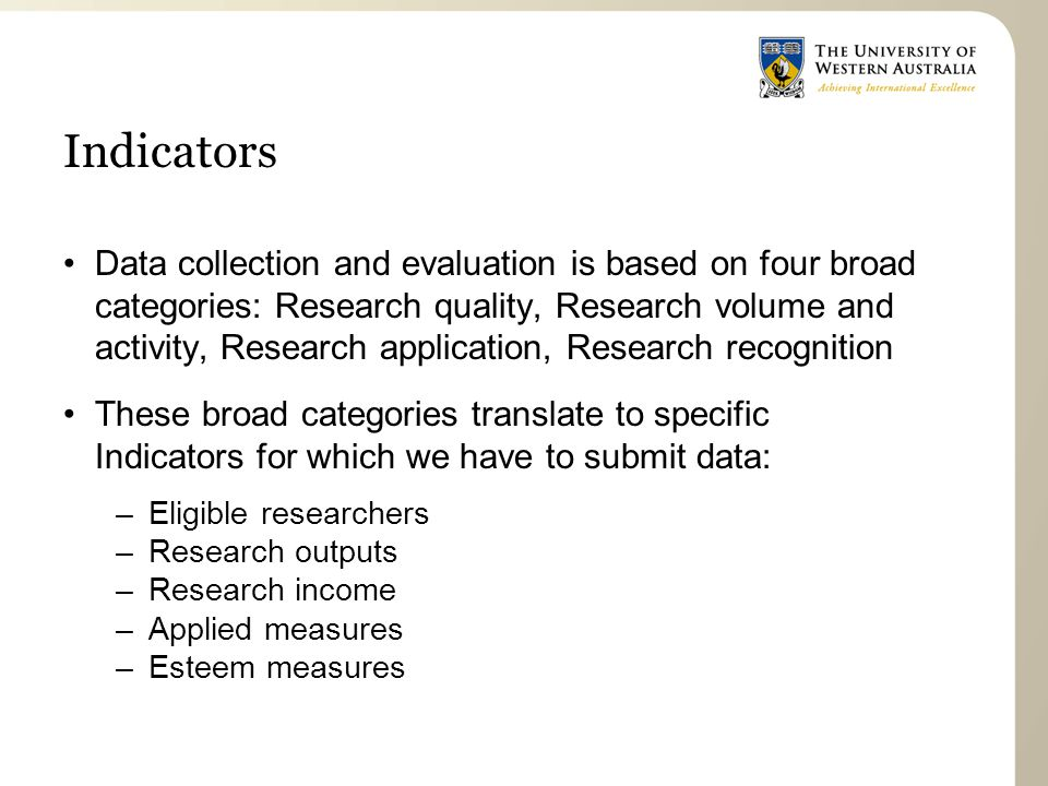 Indicators Data collection and evaluation is based on four broad categories: Research quality, Research volume and activity, Research application, Research recognition These broad categories translate to specific Indicators for which we have to submit data: –Eligible researchers –Research outputs –Research income –Applied measures –Esteem measures