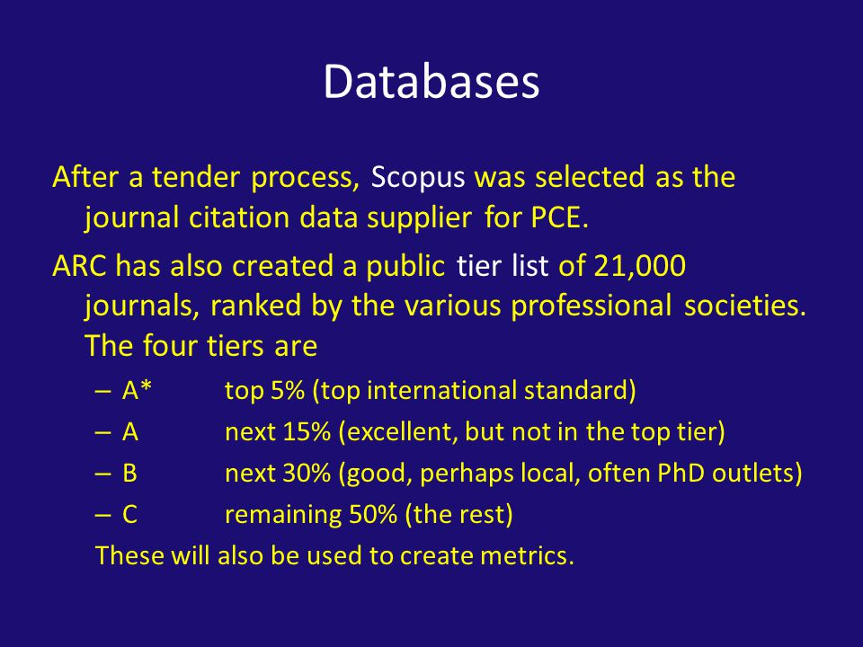 Databases After a tender process, Scopus was selected as the journal citation data supplier for PCE.