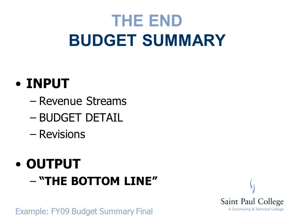 THE END BUDGET SUMMARY INPUT –Revenue Streams –BUDGET DETAIL –Revisions OUTPUT – THE BOTTOM LINE Example: FY09 Budget Summary Final