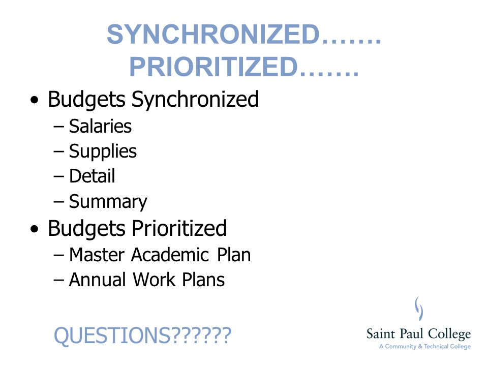 SYNCHRONIZED……. PRIORITIZED……. Budgets Synchronized –Salaries –Supplies –Detail –Summary Budgets Prioritized –Master Academic Plan –Annual Work Plans