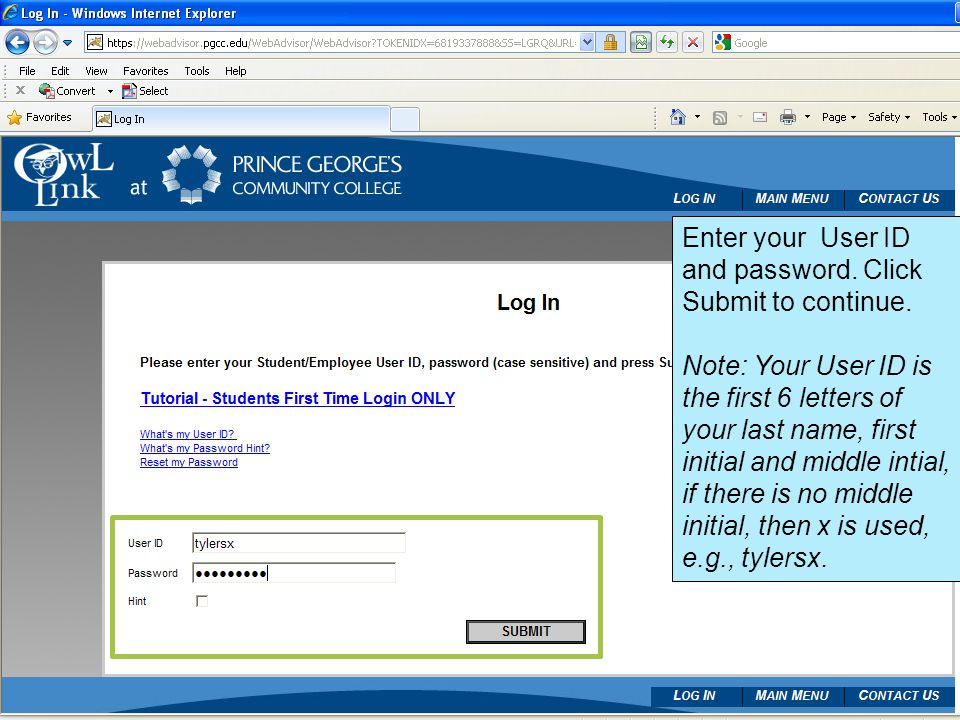 Enter your User ID and password. Click Submit to continue.
