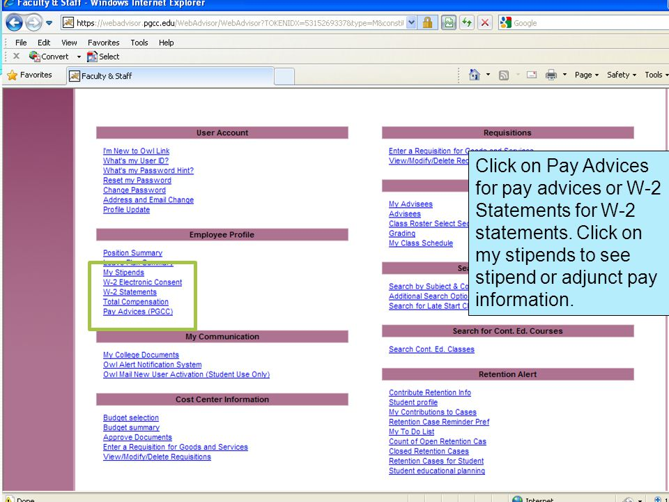 Click on Pay Advices for pay advices or W-2 Statements for W-2 statements.
