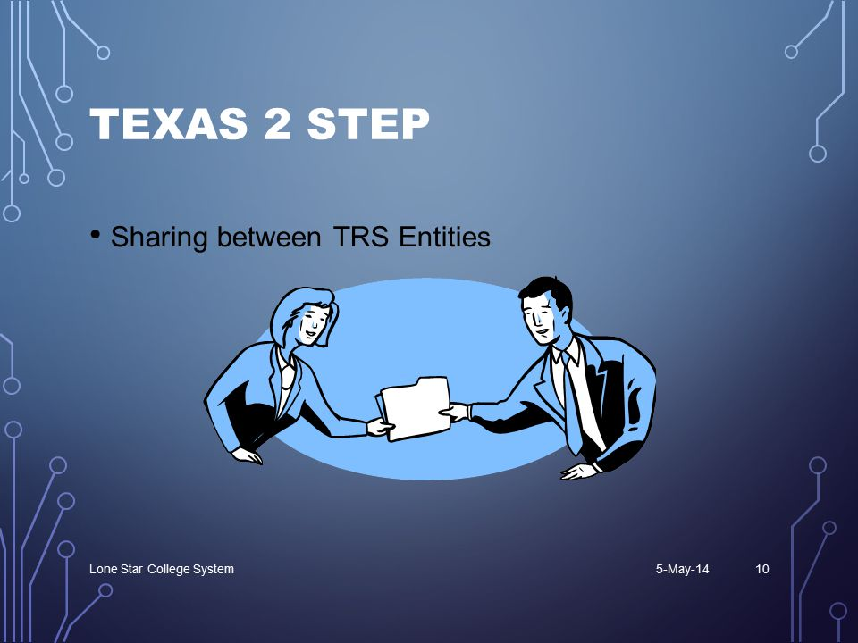 TEXAS 2 STEP Sharing between TRS Entities 5-May-14Lone Star College System10