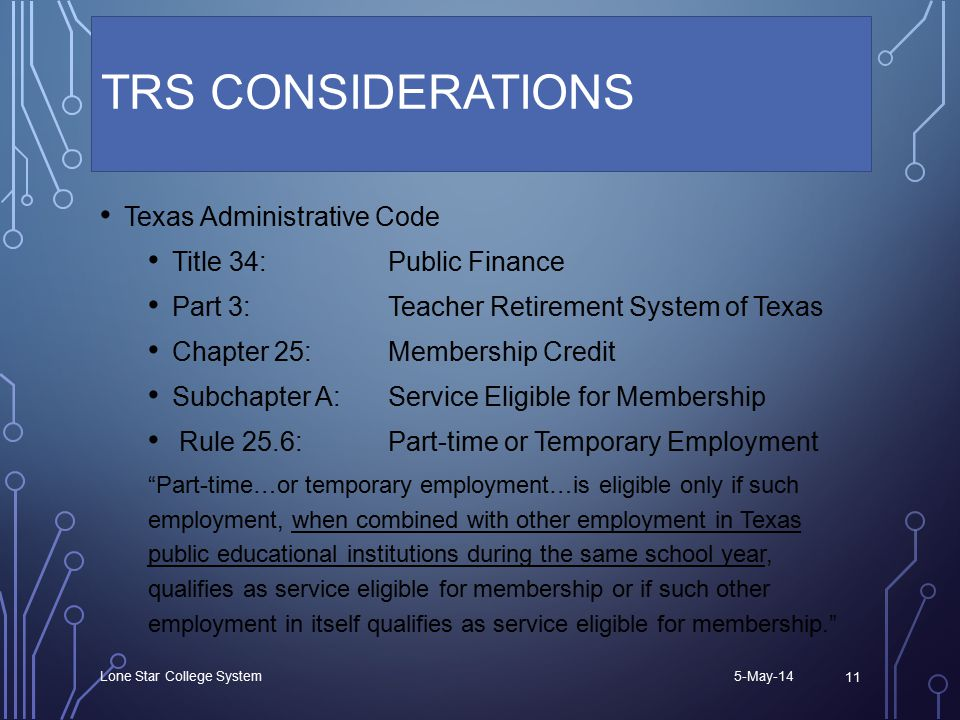 TRS CONSIDERATIONS Texas Administrative Code Title 34: Public Finance Part 3: Teacher Retirement System of Texas Chapter 25: Membership Credit Subchapter A:Service Eligible for Membership Rule 25.6:Part-time or Temporary Employment Part-time…or temporary employment…is eligible only if such employment, when combined with other employment in Texas public educational institutions during the same school year, qualifies as service eligible for membership or if such other employment in itself qualifies as service eligible for membership. 5-May-14 Lone Star College System 11