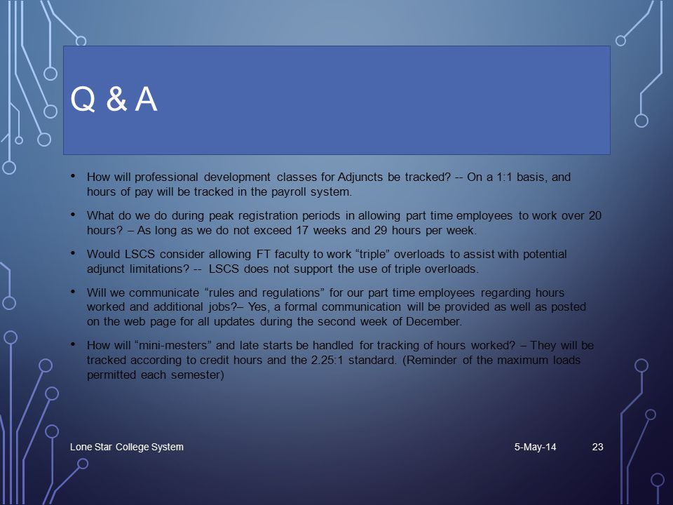Q & A How will professional development classes for Adjuncts be tracked.