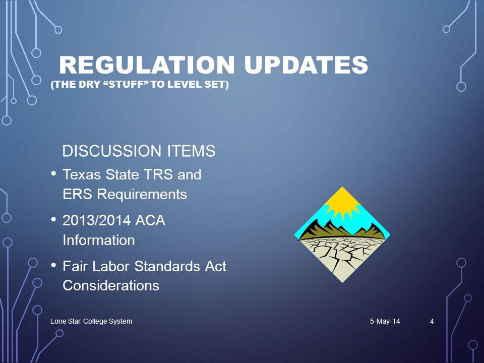 REGULATION UPDATES (THE DRY STUFF TO LEVEL SET) DISCUSSION ITEMS Texas State TRS and ERS Requirements 2013/2014 ACA Information Fair Labor Standards Act Considerations 5-May-14Lone Star College System4