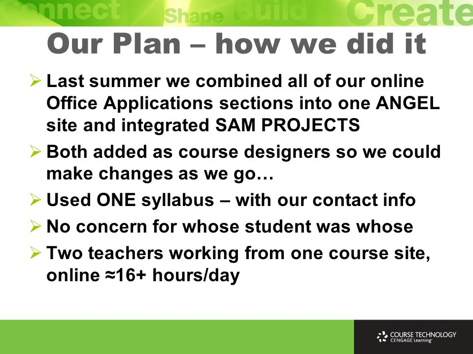 Our Plan – how we did it  Last summer we combined all of our online Office Applications sections into one ANGEL site and integrated SAM PROJECTS  Both added as course designers so we could make changes as we go…  Used ONE syllabus – with our contact info  No concern for whose student was whose  Two teachers working from one course site, online ≈16+ hours/day
