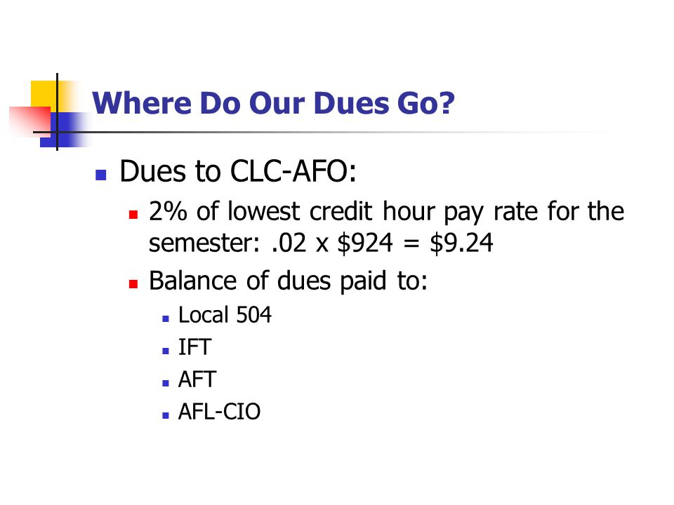 Where Do Our Dues Go.