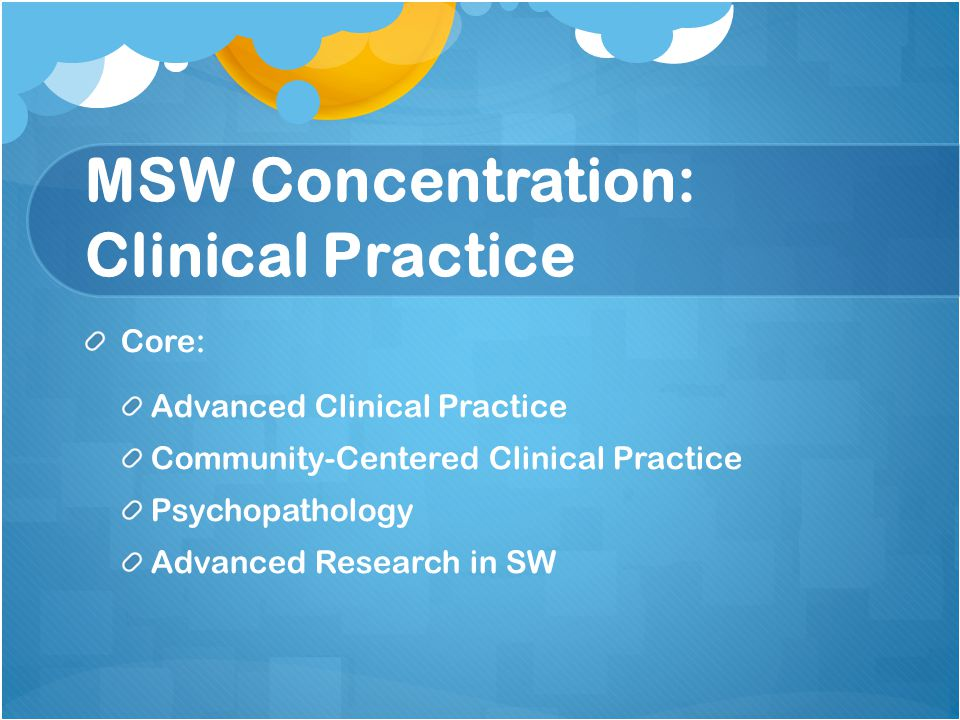 MSW Concentration: Clinical Practice Core: Advanced Clinical Practice Community-Centered Clinical Practice Psychopathology Advanced Research in SW