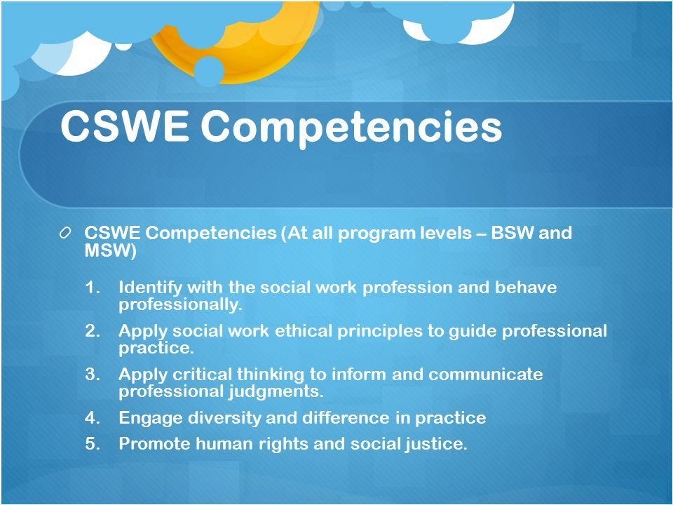 CSWE Competencies CSWE Competencies (At all program levels – BSW and MSW) 1.