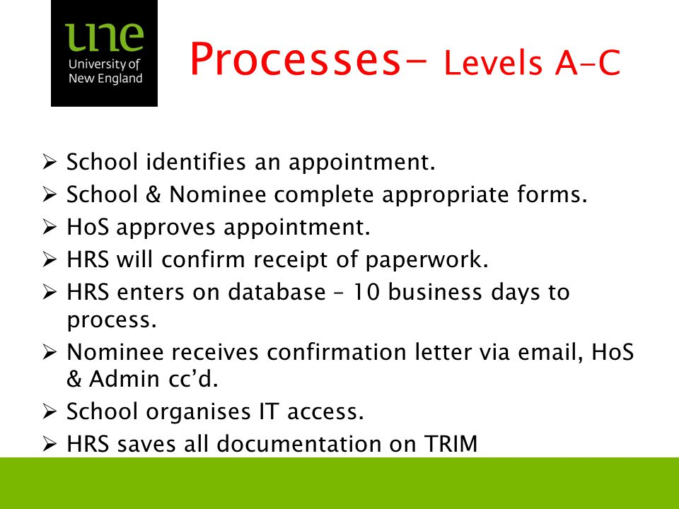 Processes- Levels A-C  School identifies an appointment.
