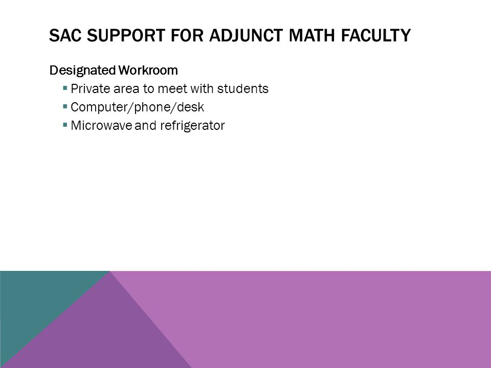 SAC SUPPORT FOR ADJUNCT MATH FACULTY Designated Workroom  Private area to meet with students  Computer/phone/desk  Microwave and refrigerator