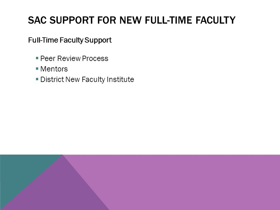 SAC SUPPORT FOR NEW FULL-TIME FACULTY Full-Time Faculty Support  Peer Review Process  Mentors  District New Faculty Institute