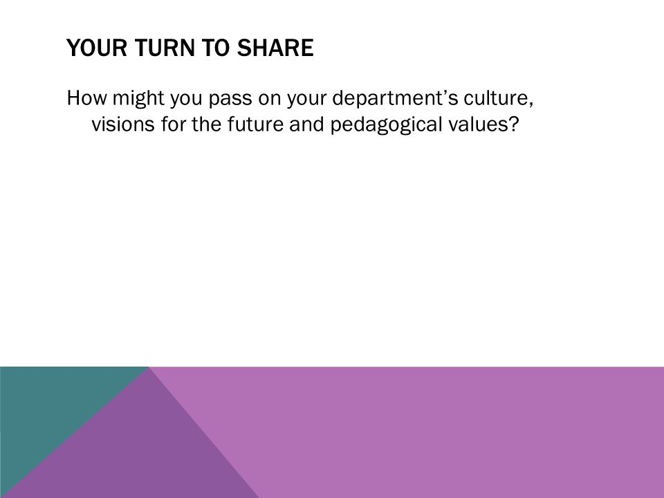 YOUR TURN TO SHARE How might you pass on your department's culture, visions for the future and pedagogical values