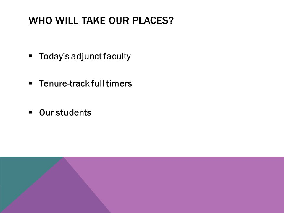 WHO WILL TAKE OUR PLACES  Today's adjunct faculty  Tenure-track full timers  Our students